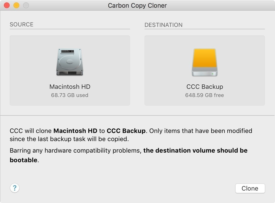 Carbon Copy Cloner 5110 Screenshot 01