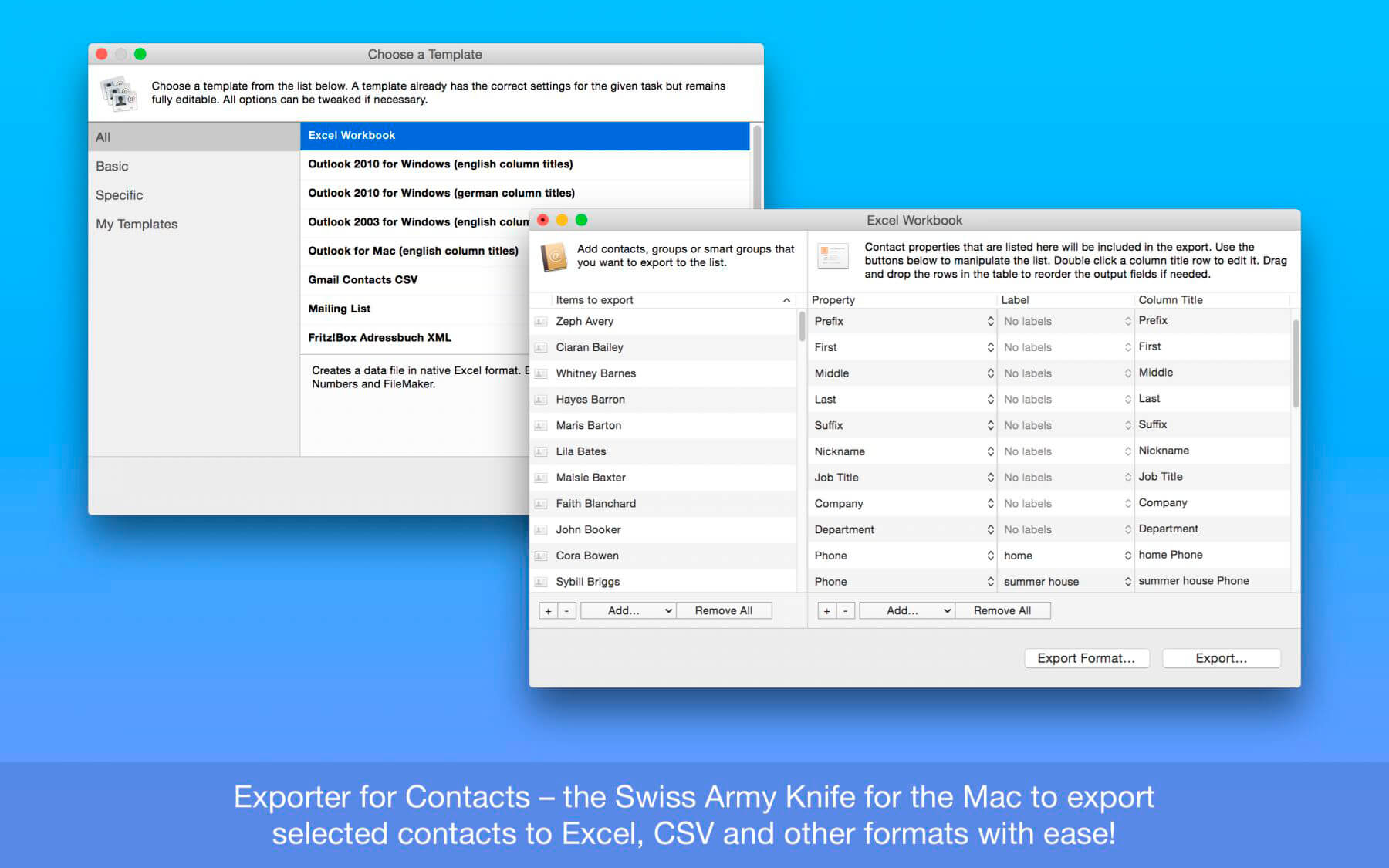 Exporter for Contacts 1.12